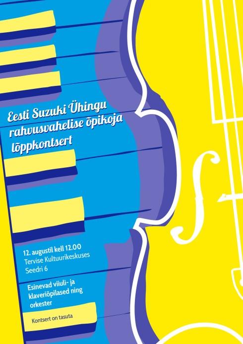 Eesti Suzuki Ühingu rahvusvahelise õpikoja lõppkontsert 12. augustil kell 12.00 Pärnus Tervise Kultuurikeskuses aadressil Seedri 6.