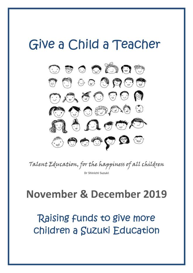 Raising funds to give more children a Suzuki Education.